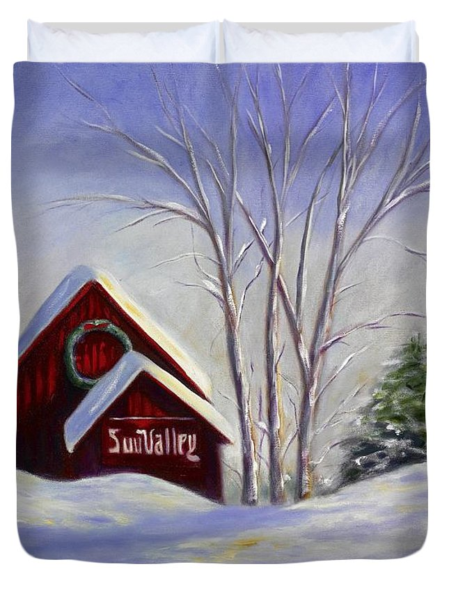 Landscape White Duvet Cover featuring the painting Sun Valley 1 by Shannon Grissom