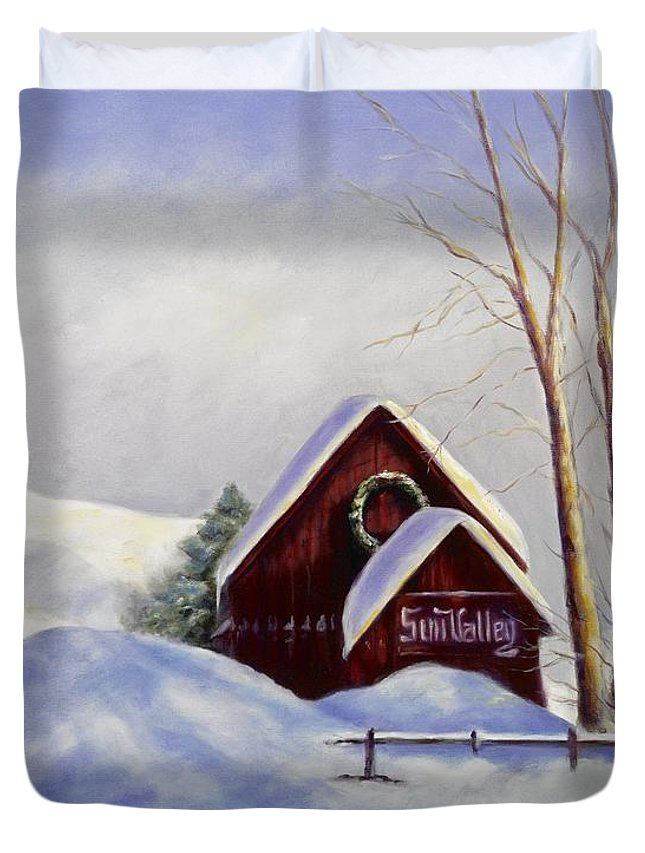 Landscape Duvet Cover featuring the painting Sun Valley 2 by Shannon Grissom