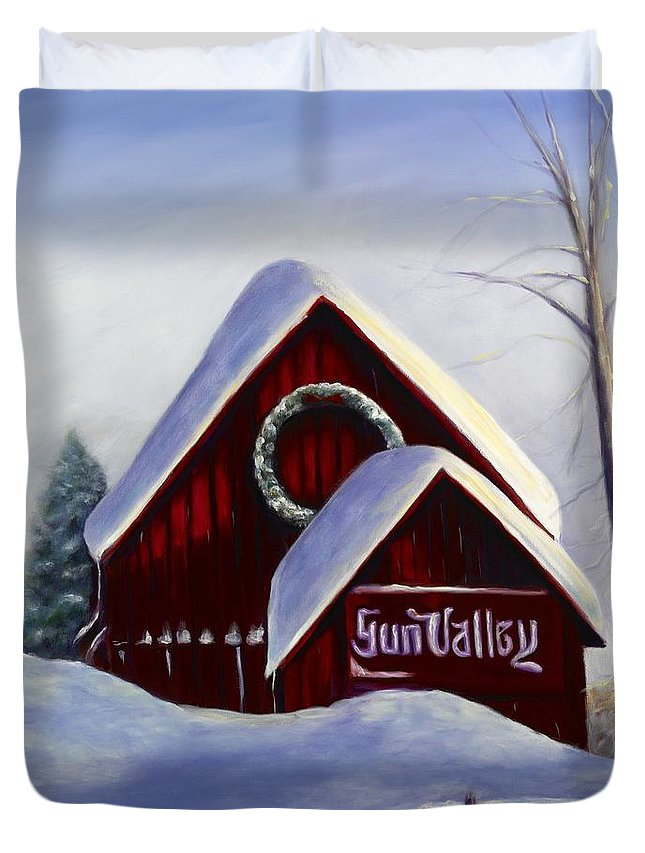 Landscape Duvet Cover featuring the painting Sun Valley 3 by Shannon Grissom