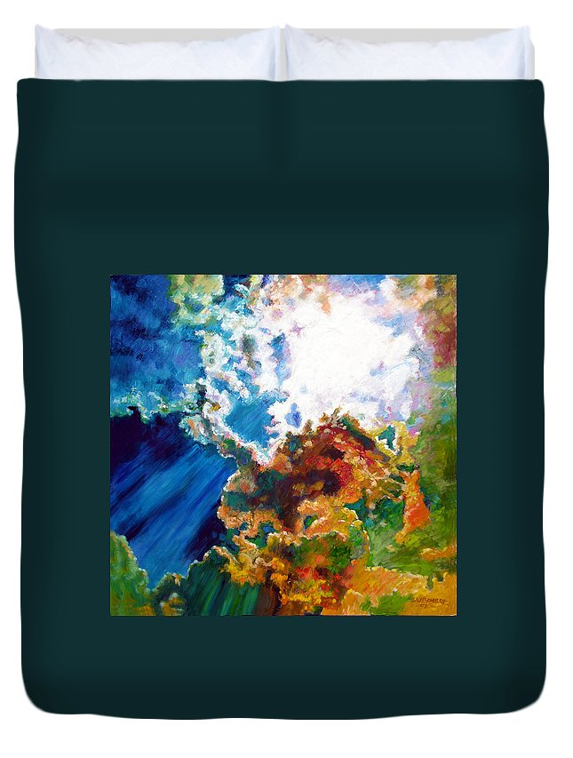 Sunburst Duvet Cover featuring the painting Sunburst by John Lautermilch