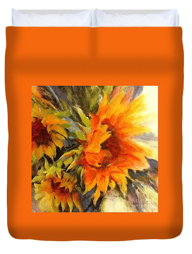 Sunflower Painting Duvet Cover featuring the painting Sunburst by Madeleine Holzberg
