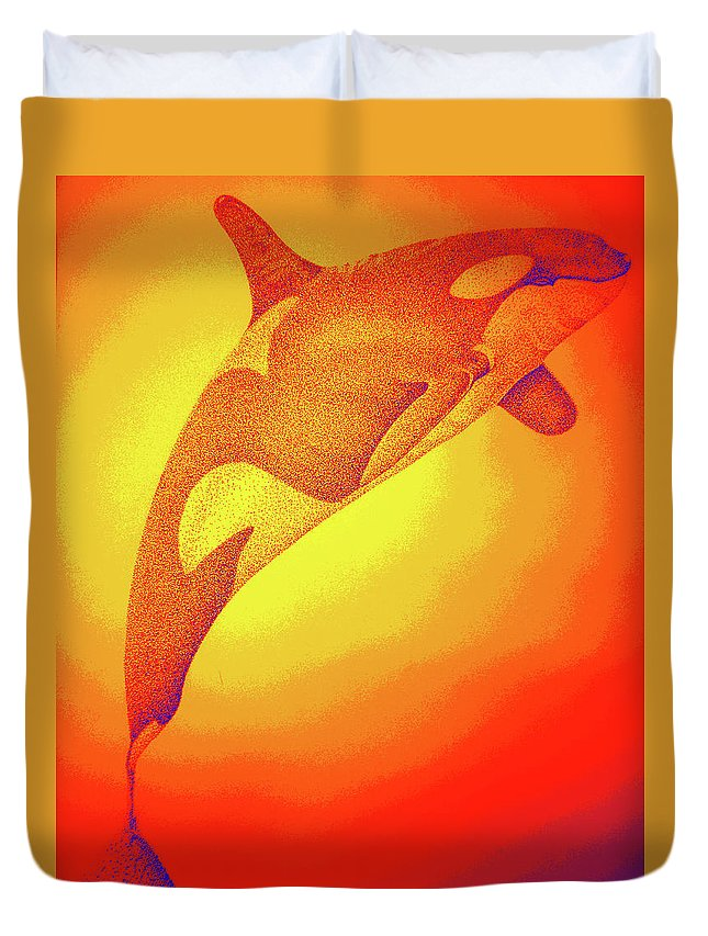 Whale Digital Art Duvet Cover featuring the digital art Sunburst Orca by Mayhem Mediums