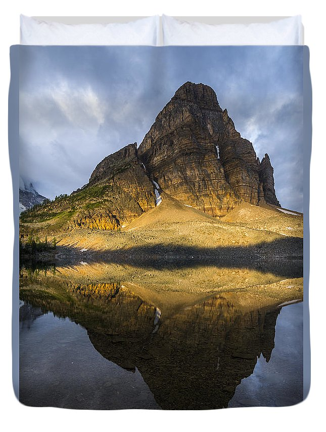 Alberta. Canada Duvet Cover featuring the photograph Sunburst Peak Reflection by Howie Garber