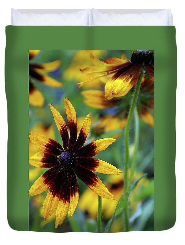 Flower Duvet Cover featuring the photograph Sunburst Petals by Linda Shafer