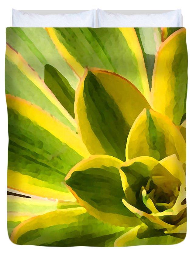 Landscape Duvet Cover featuring the photograph Sunburst Succulent Close-up 2 by Amy Vangsgard