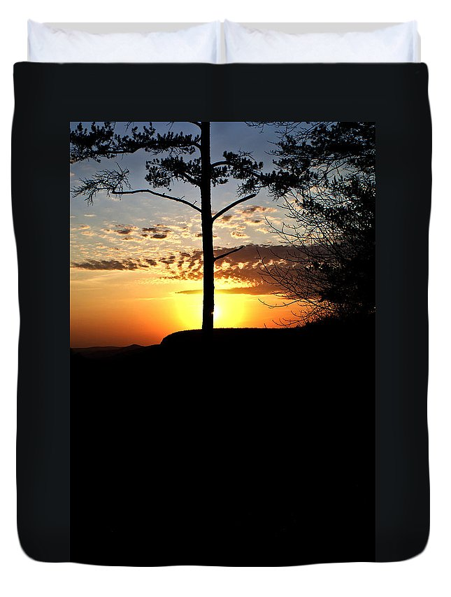 Sunburst Duvet Cover featuring the photograph Sunburst Sunset by Douglas Barnett