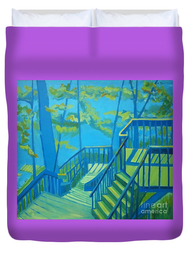 New Hampshire Duvet Cover featuring the painting Suncook Stairwell by Debra Bretton Robinson