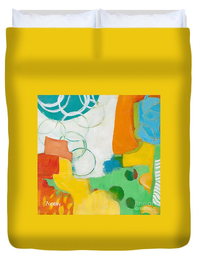 Abstract Duvet Cover featuring the painting Sunday Day Bubbles by Patricia Cleasby