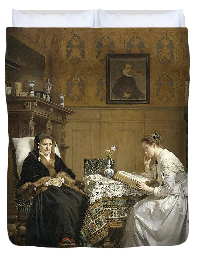 Art Duvet Cover featuring the painting Sunday Morning, 1868 by Hendrik Jacobus Scholten