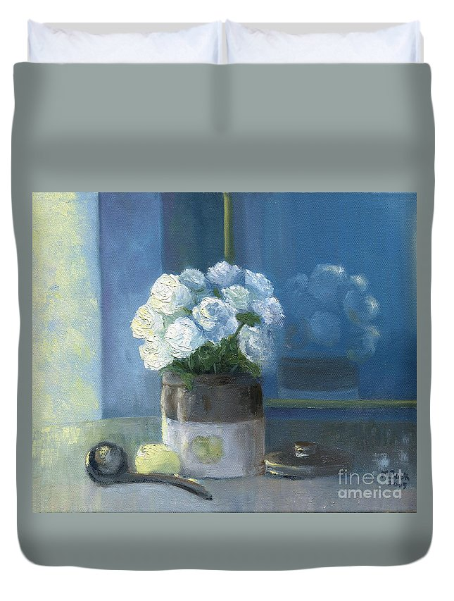 Still Life Duvet Cover featuring the painting Sunday Morning And Roses - Blue by Marlene Book