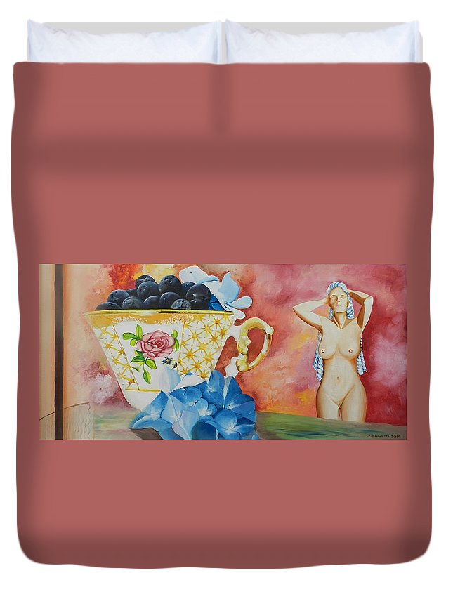 Figurative Duvet Cover featuring the painting Sunday Morning by Ricardo Colugnatti