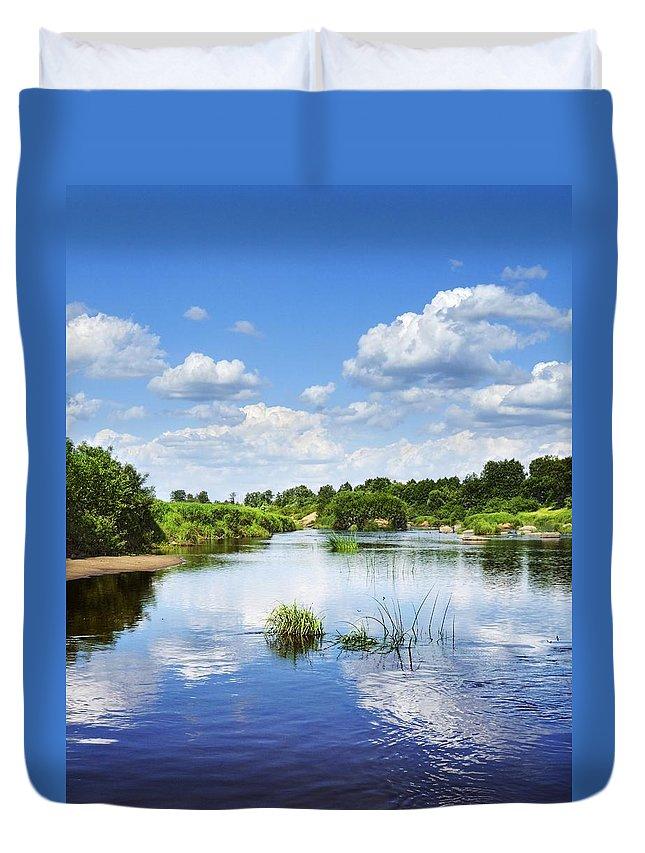 Landscape Duvet Cover featuring the photograph Sunday River by Vadzim Kandratsenkau