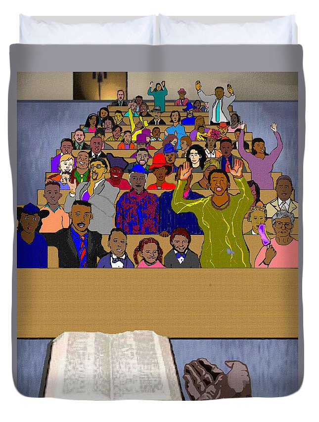 Sermon Duvet Cover featuring the painting Sunday Sermon by Pharris Art