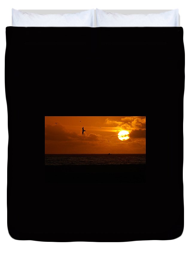 Clay Duvet Cover featuring the photograph Sundown Flight by Clayton Bruster