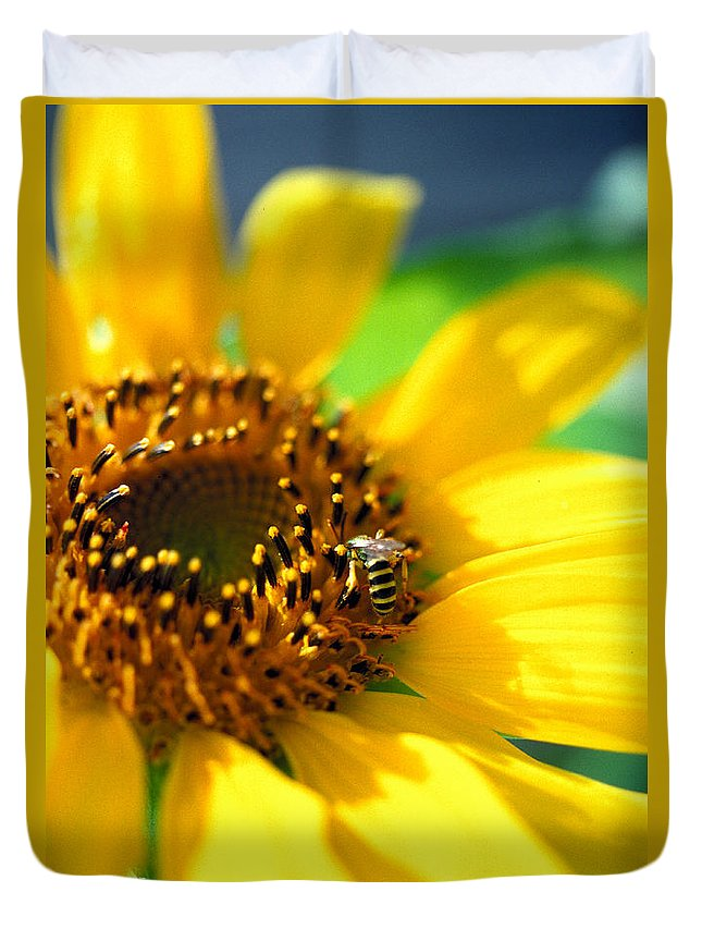 Bright Duvet Cover featuring the photograph Sunflower And Bee by Thomas Firak