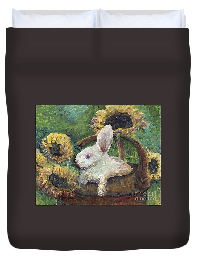 Sunflowers Duvet Cover featuring the painting Sunflower Basket Surprise by Nadine Rippelmeyer