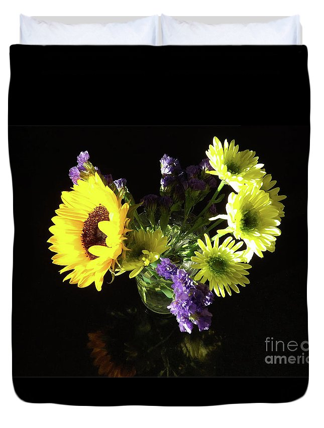 Colors Duvet Cover featuring the painting Sunflower Bouquet by Galina Alkhutova