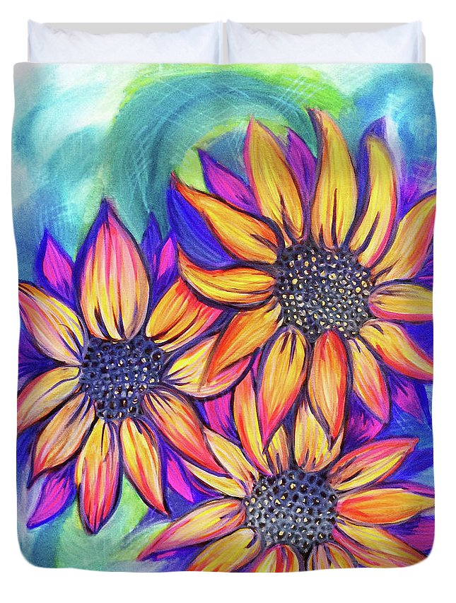Sun Flower Sunflower Sunflowers Bunch Bundle Three Floral Leaves Pink Yellow Purple Blue Nature Beautiful Watercolor Duvet Cover featuring the painting Sunflower Bundle by Lori Teich
