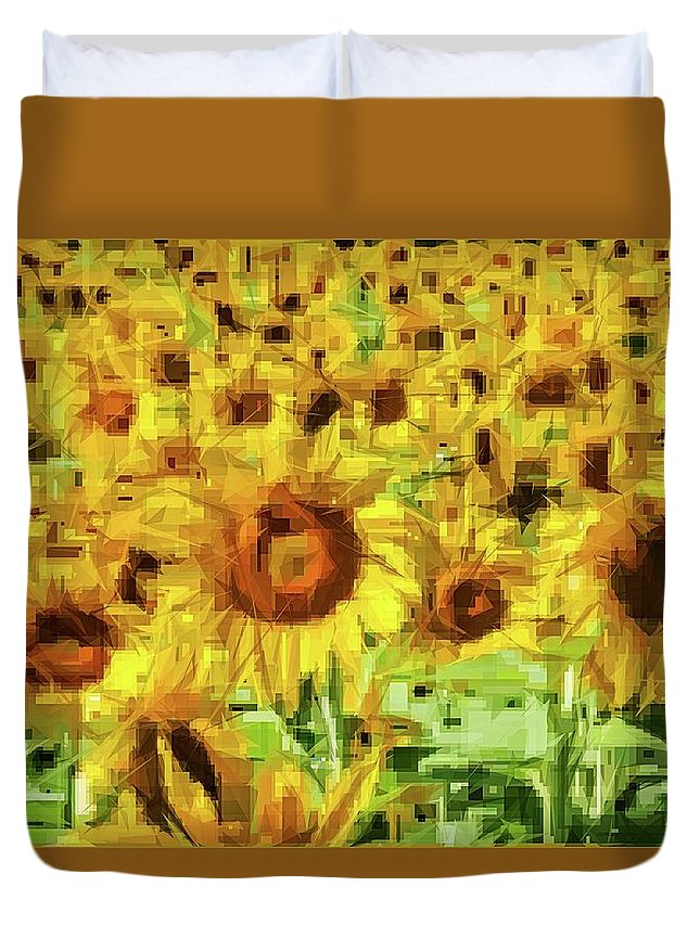 Alicegipsonphotographs Duvet Cover featuring the photograph Sunflower Edges by Alice Gipson