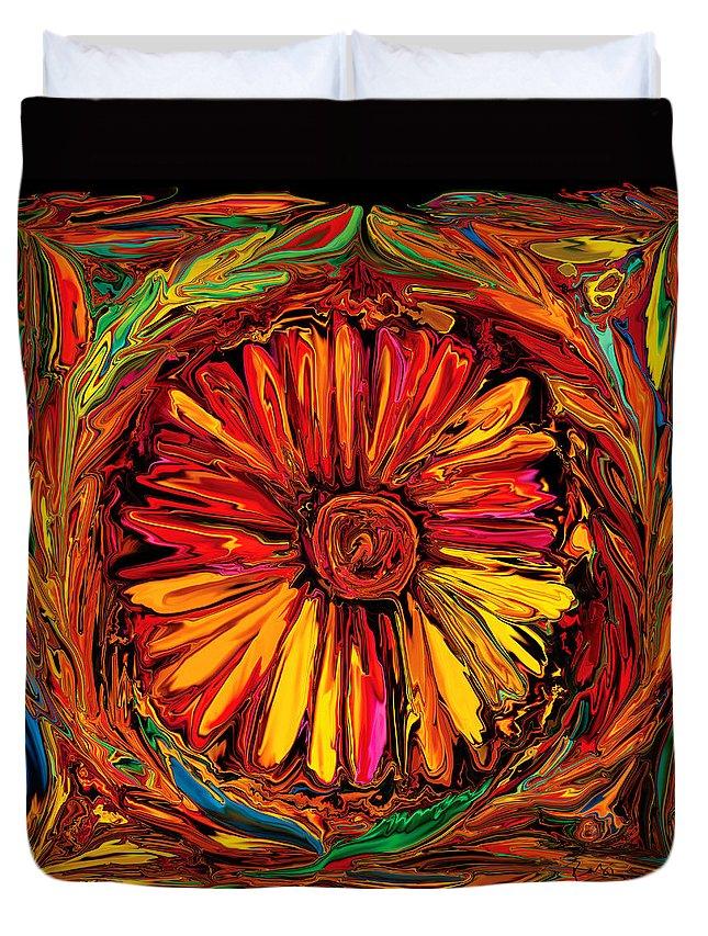 Art Duvet Cover featuring the digital art Sunflower Emblem by Rabi Khan