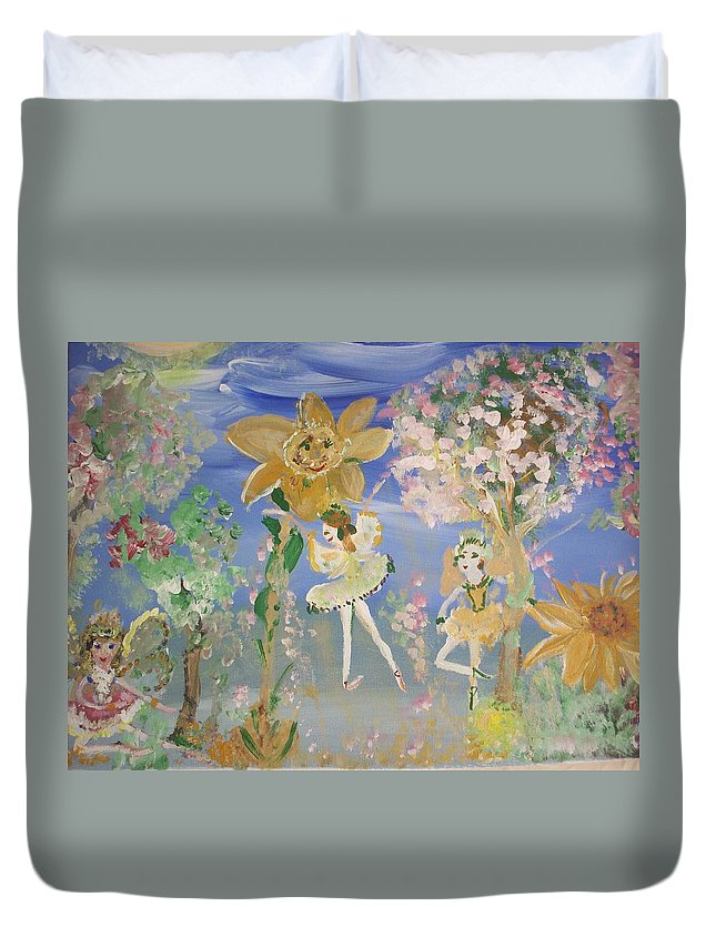 Sunflowers Duvet Cover featuring the painting Sunflower Fairies by Judith Desrosiers