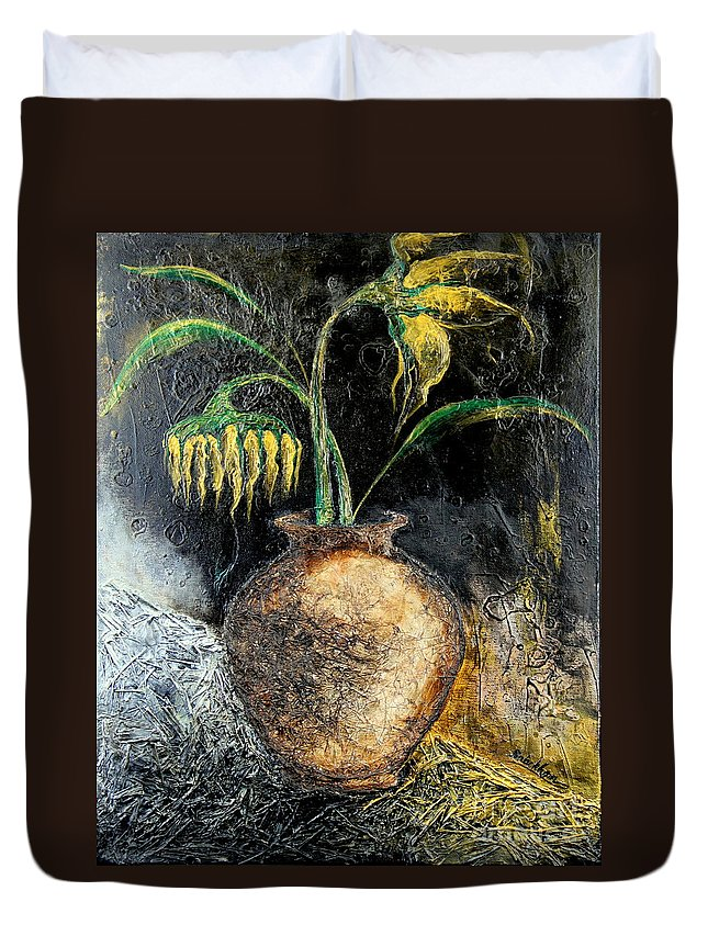 Sunflower Duvet Cover featuring the painting Sunflower by Farzali Babekhan