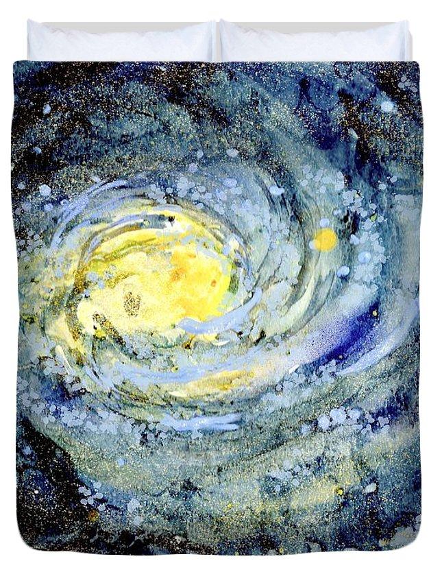 Sunflower Galaxy Duvet Cover featuring the mixed media Sunflower Galaxy by Michelle De Villiers