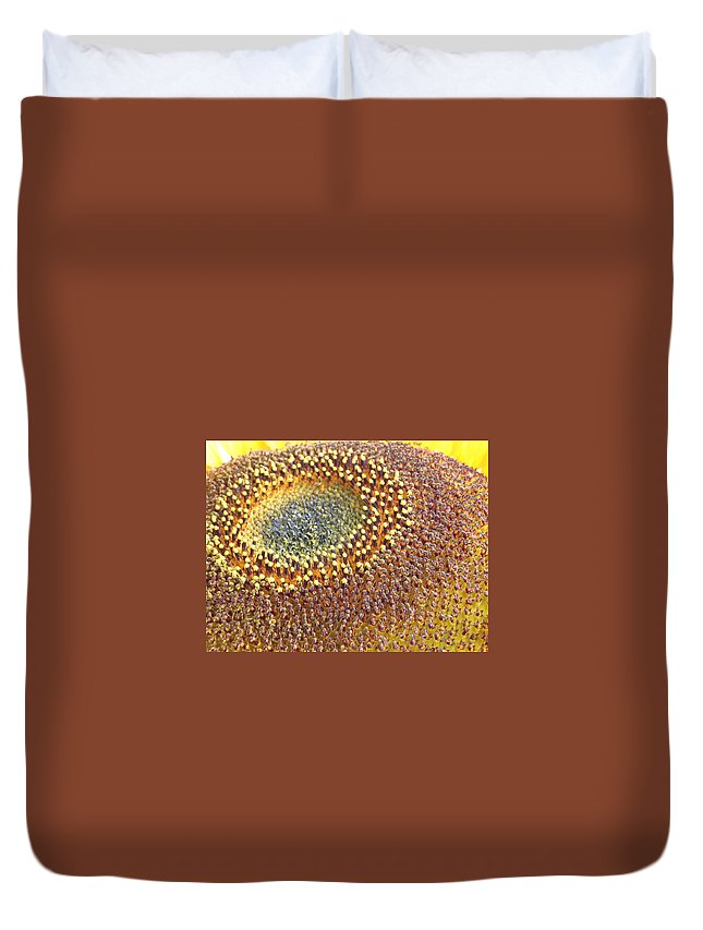 Sunflower Duvet Cover featuring the photograph Sunflower Heart by Line Gagne