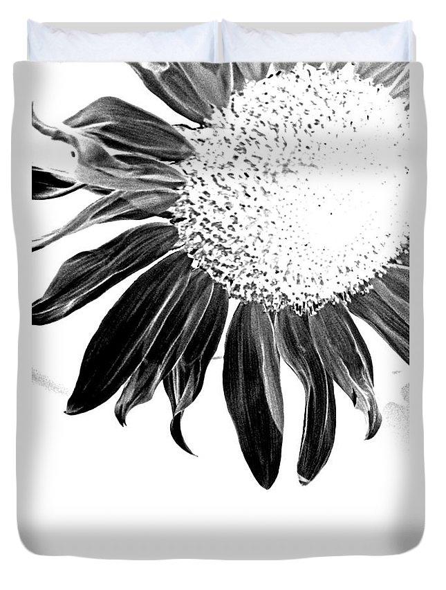 Sunflower Petal Seed Leaf Center Flower Floral Botanical Corner Plant Sun Black White Graphic Digital Light Duvet Cover featuring the photograph Sunflower In Corner Bw Threshold by Heather Kirk