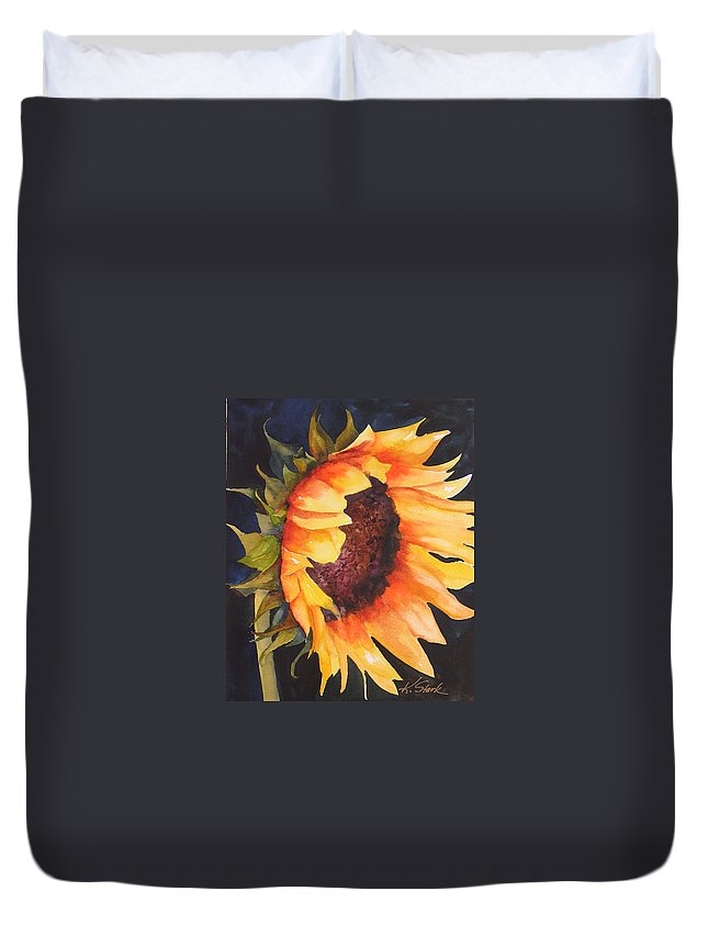 Floral Duvet Cover featuring the painting Sunflower by Karen Stark