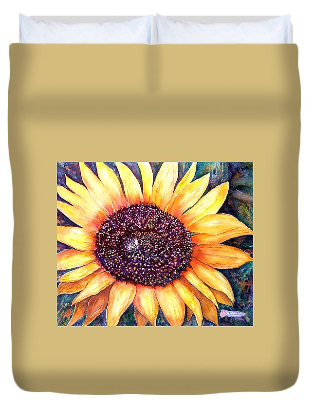Sunflower Duvet Cover featuring the painting Sunflower Of Georgia by Norma Boeckler
