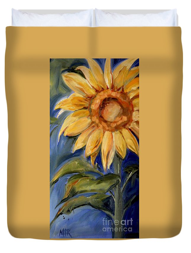 Sunflower Duvet Cover featuring the painting Sunflower Oil Painting by Maria Reichert