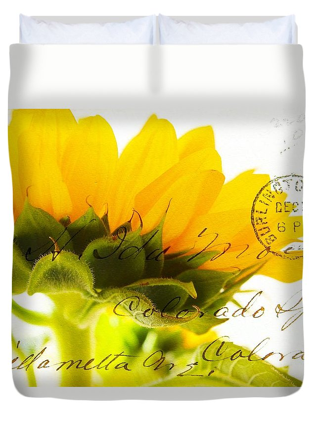 Wild Sunflower Duvet Cover featuring the photograph Sunflower Postcard by Clare Bevan