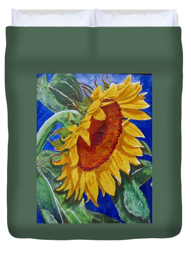 Sunflower Duvet Cover featuring the painting Sunflower by Richard Le Page