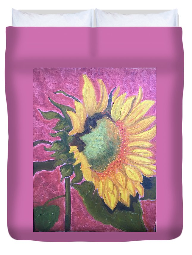 Flower Duvet Cover featuring the painting New Mexico Sunflower by Ruth Hansen