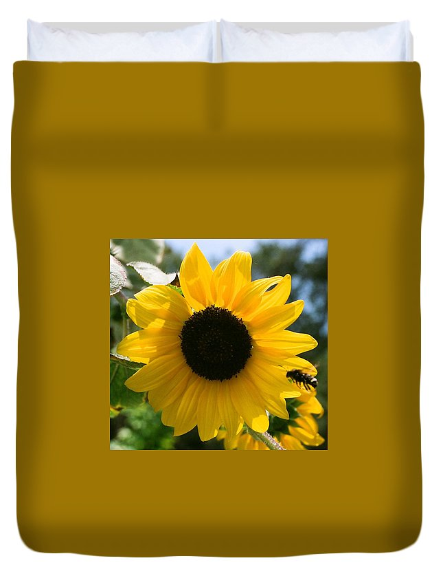 Flower Duvet Cover featuring the photograph Sunflower With Bee by Dean Triolo