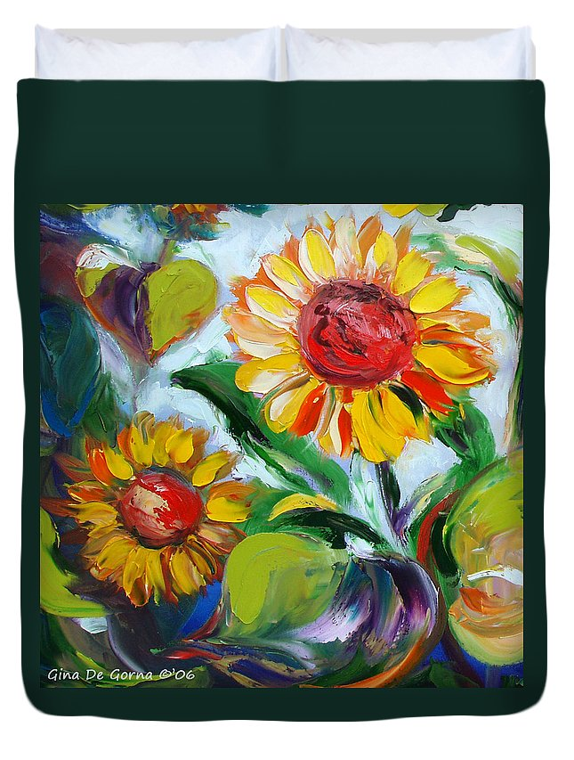Flowers Duvet Cover featuring the painting Sunflowers 10 by Gina De Gorna