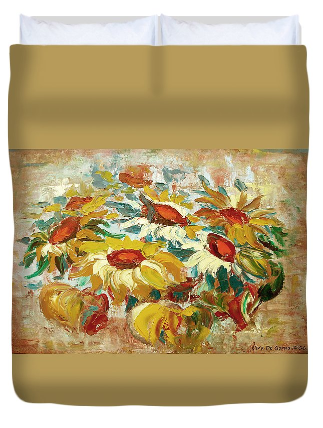 Sunflowers Duvet Cover featuring the painting Sunflowers 15 by Gina De Gorna