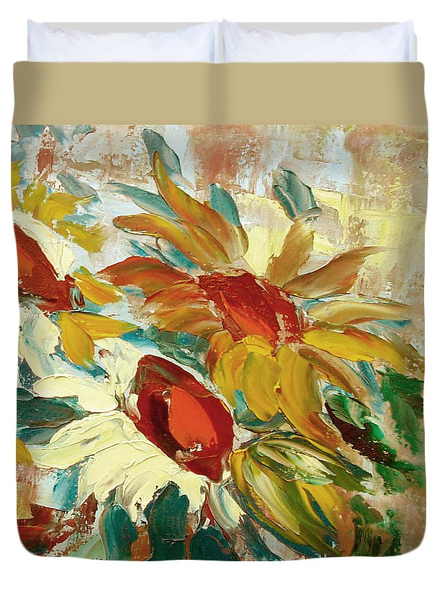 Sunflower Duvet Cover featuring the painting Sunflowers 16 by Gina De Gorna