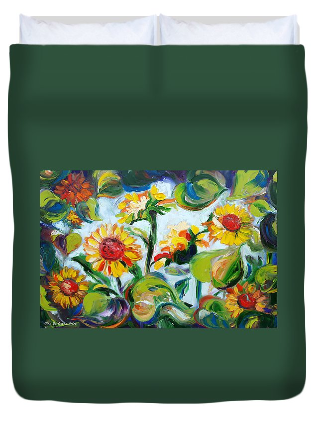 Sunflowers Duvet Cover featuring the painting Sunflowers 3 by Gina De Gorna