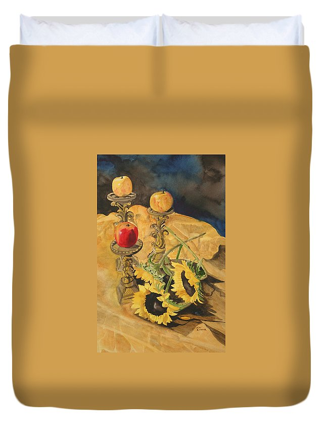Still Life Duvet Cover featuring the painting Sunflowers And Apples by Jean Blackmer