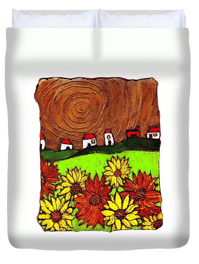 Flowers Duvet Cover featuring the painting Sunflowers And Fields by Wayne Potrafka