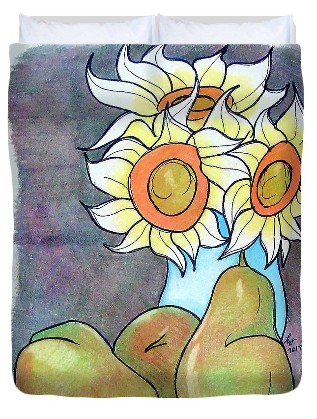 Sunflowers Duvet Cover featuring the drawing Sunflowers And Pears by Loretta Nash