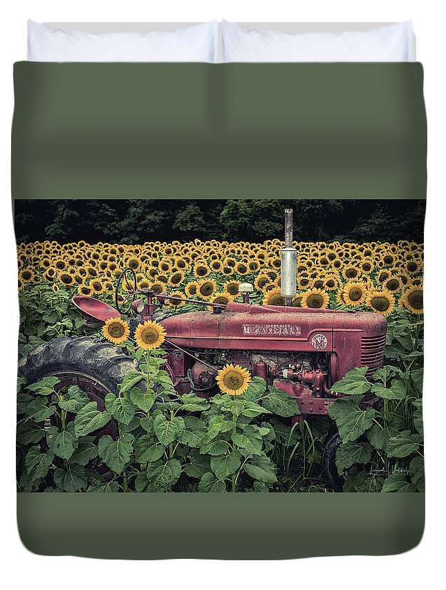 Award Duvet Cover featuring the photograph Sunflowers And Tractor by Russell Wooldridge