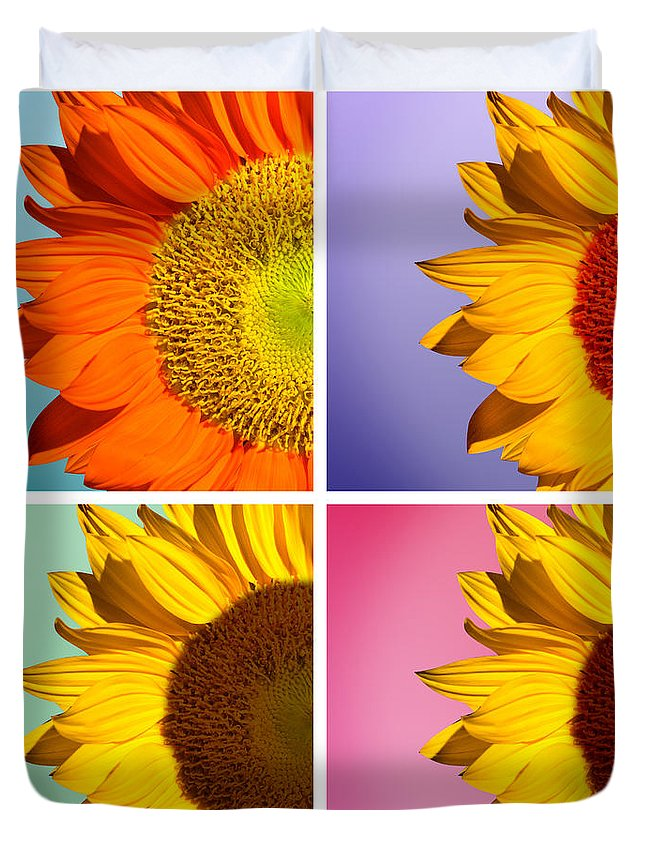 Sunflowers Duvet Cover featuring the photograph Sunflowers Collage by Mark Ashkenazi