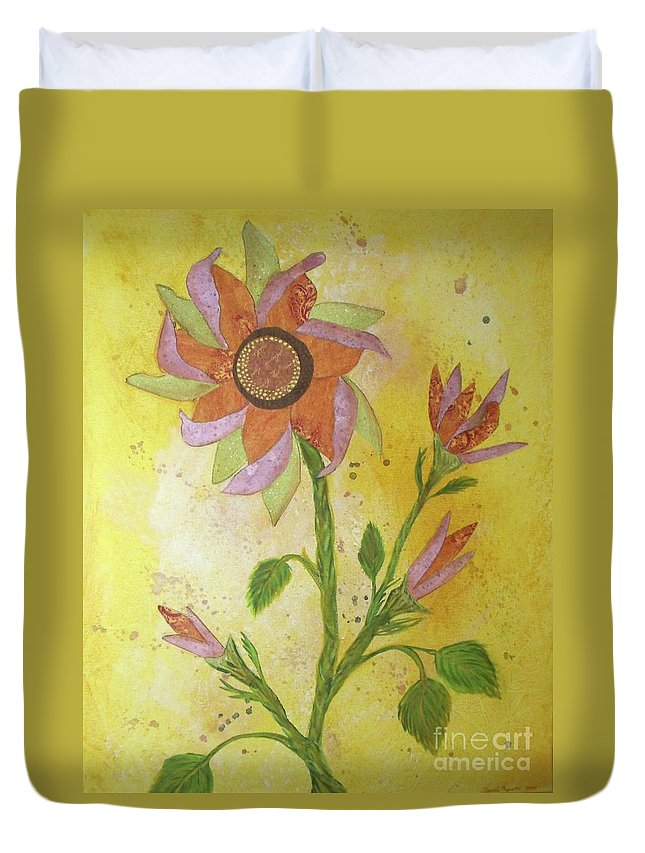 Sunflowers Duvet Cover featuring the mixed media Sunflowers by Desiree Paquette