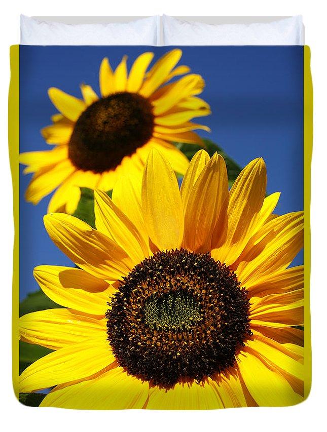 Sunflowers Duvet Cover featuring the photograph Sunflowers by Gaspar Avila