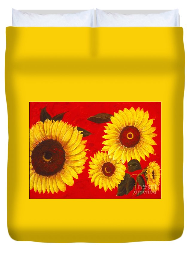 Flowers Duvet Cover featuring the painting Sunflowers IIi by Mary Erbert