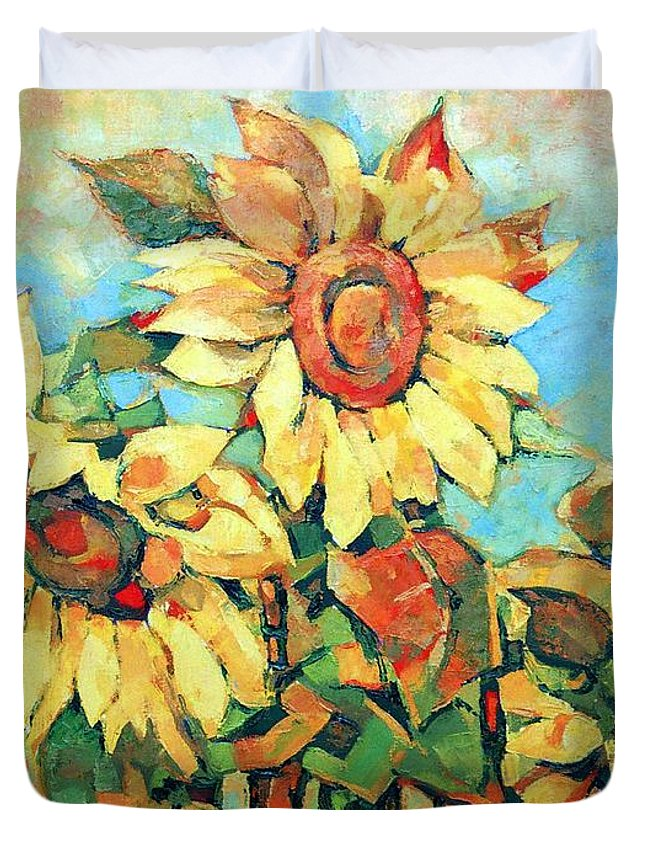 Sunflowers Duvet Cover featuring the painting Sunflowers by Iliyan Bozhanov