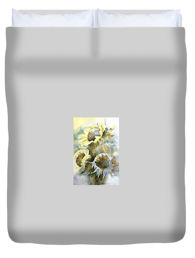 Sunflower Painting Duvet Cover featuring the painting Sunflowers Ill by Madeleine Holzberg
